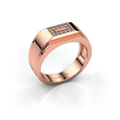 Men's ring Roan 375 rose gold zirconia 1.5 mm