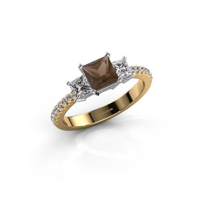 Engagement ring Dorla 585 gold smokey quartz 5 mm