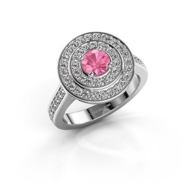 Ring Alecia 2 585 witgoud roze saffier 5 mm