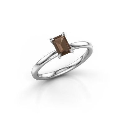 Picture of Engagement ring Crystal EME 1 950 platinum smokey quartz 6x4 mm