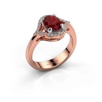 Foto van Ring Mendy 585 rosé goud robijn 8x6 mm