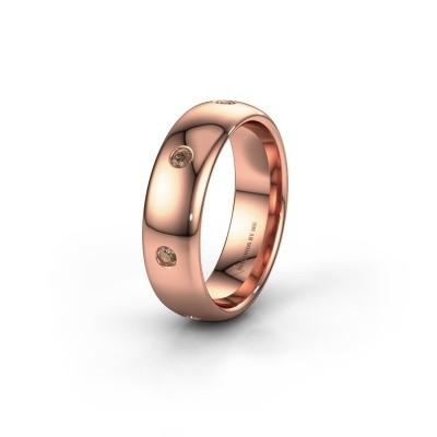 Wedding ring WH0105L36BP 375 rose gold brown diamond ±6x2 mm