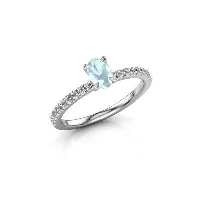 Picture of Engagement ring Crystal OVL 2 925 silver aquamarine 6x4 mm