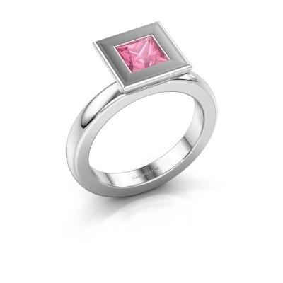 Stapelring Eloise Square 585 witgoud roze saffier 5 mm