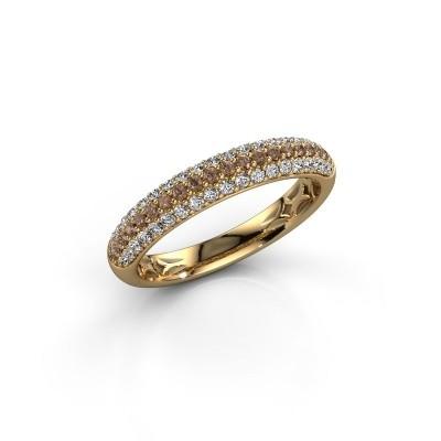 Foto van Ring Emely 2 375 goud bruine diamant 0.557 crt