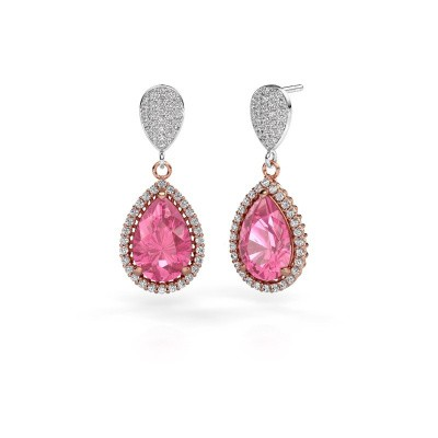 Drop earrings Cheree 2 585 rose gold pink sapphire 12x8 mm