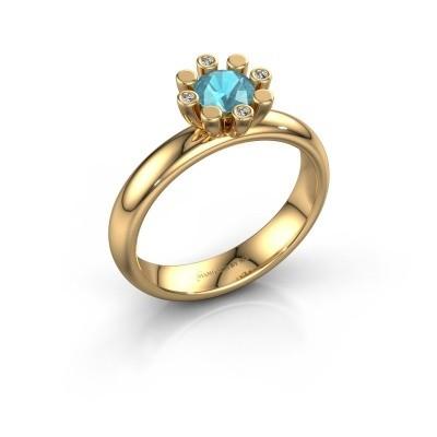 Stapelring Carola 2 585 goud blauw topaas 5 mm