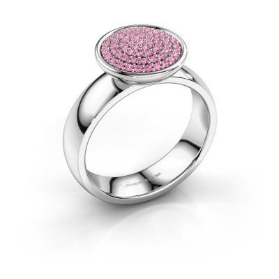 Foto van Ring Tilda 950 platina roze saffier 1 mm