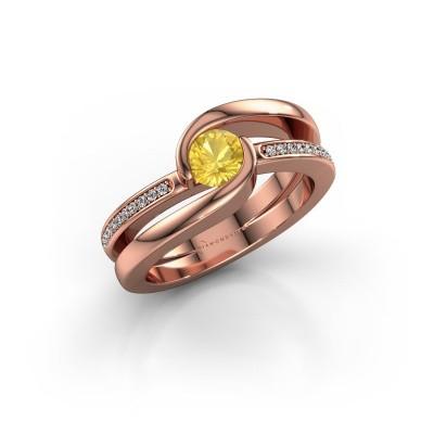 Foto van Ring Xenia 2 375 rosé goud gele saffier 5 mm