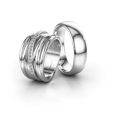 Trouwringen set WHS003LM36AP ±13x3 mm 14 karaat witgoud diamant 0.005 crt