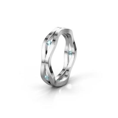 Trouwring WH2122L 925 zilver aquamarijn ±5x1.8 mm