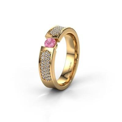 Trouwring WH2100L 375 goud roze saffier ±5x3 mm