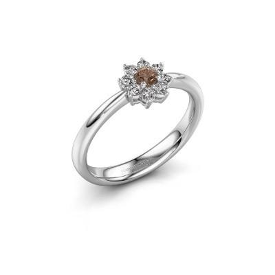 Foto van Verlovingsring Camille 1 585 witgoud bruine diamant 0.15 crt