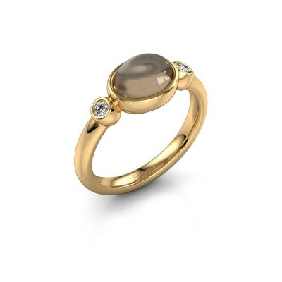 Ring Liane 585 gold smokey quartz 8x6 mm