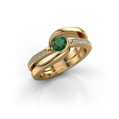 Foto van Ring Xenia 2 585 goud smaragd 5 mm