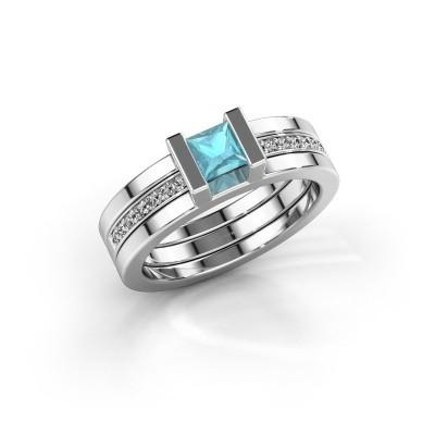Foto van Ring Desire 585 witgoud blauw topaas 4 mm