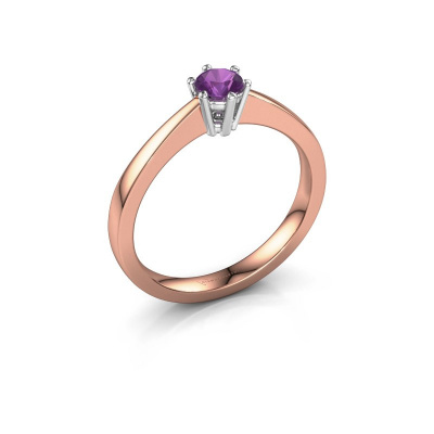 Picture of Engagement ring Noortje 585 rose gold amethyst 4 mm
