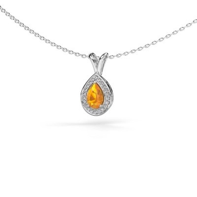Foto van Ketting Ginger 585 witgoud citrien 6x4 mm