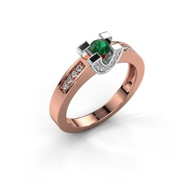 Verlovingsring Jasmijn 2 585 rosé goud smaragd 4 mm