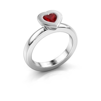 Stapelring Eloise Heart 585 witgoud robijn 5 mm
