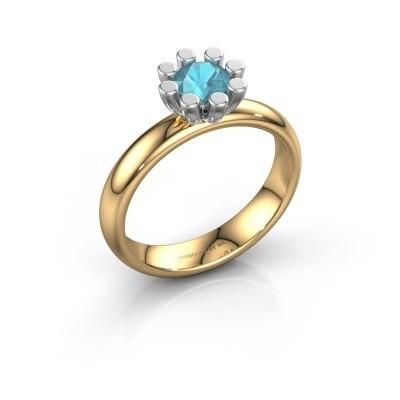 Stapelring Carola 1 585 goud blauw topaas 5 mm
