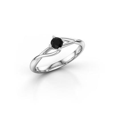 Foto van Verlovingsring Paulien 585 witgoud zwarte diamant 0.24 crt