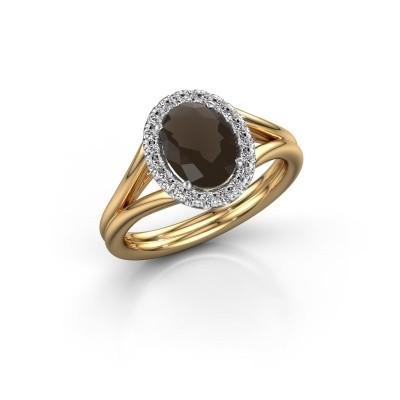 Engagement ring Rachele 1 585 gold smokey quartz 8x6 mm