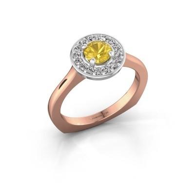 Ring Kanisha 1 585 rosé goud gele saffier 5 mm