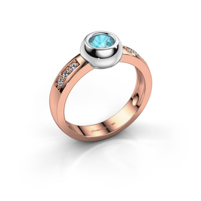 Ring Charlotte Round 585 rosé goud blauw topaas 4.7 mm