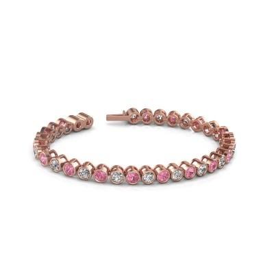 Foto van Tennisarmband Allegra 375 rosé goud roze saffier 4 mm