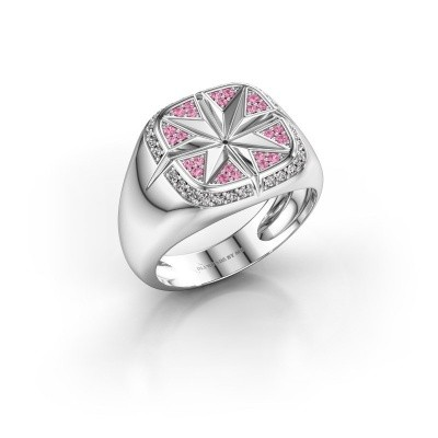 Foto van Heren ring Ravi 375 witgoud roze saffier 1 mm