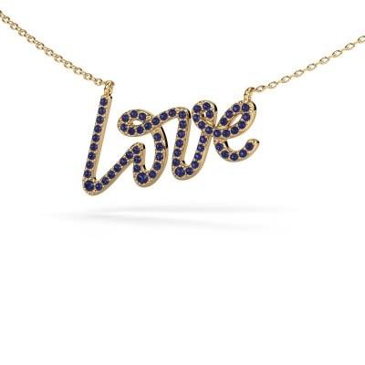 Pendentif Love 375 or jaune saphir 1 mm