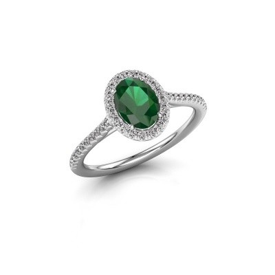Engagement ring Seline 2 585 white gold emerald 7x5 mm