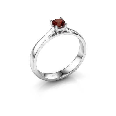 Engagement ring Sam 585 white gold garnet 4.2 mm