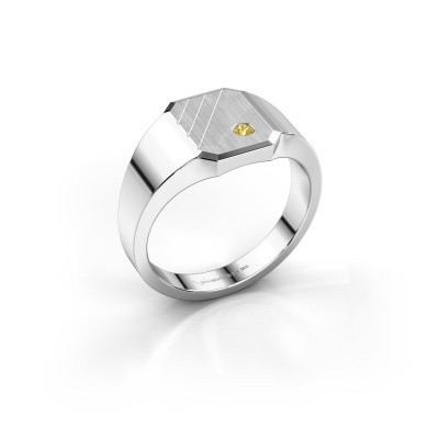 Picture of Signet ring Patrick 1 950 platinum yellow sapphire 2 mm