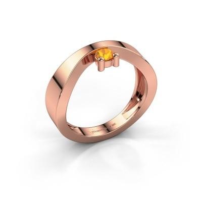 Verlovingsring Elisabeth 375 rosé goud citrien 3.4 mm