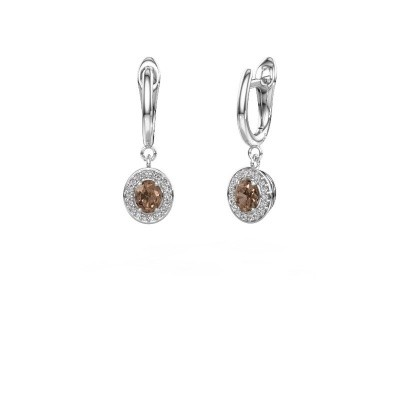 Oorhangers Nakita 950 platina bruine diamant 0.880 crt