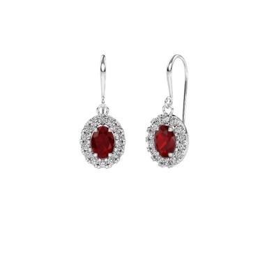 Drop earrings Jorinda 1 950 platinum ruby 7x5 mm
