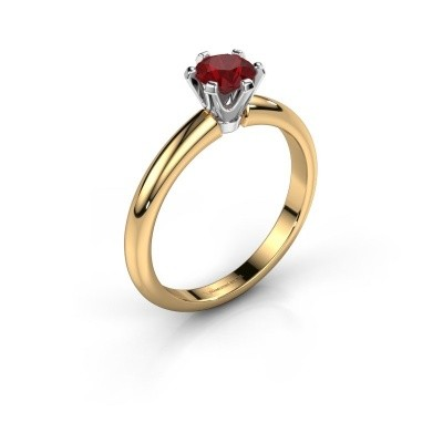 Verlovingsring Tiffy 1 585 goud robijn 5 mm
