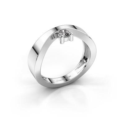 Bague de fiançailles Elisabeth 375 or blanc diamant synthétique 0.15 crt