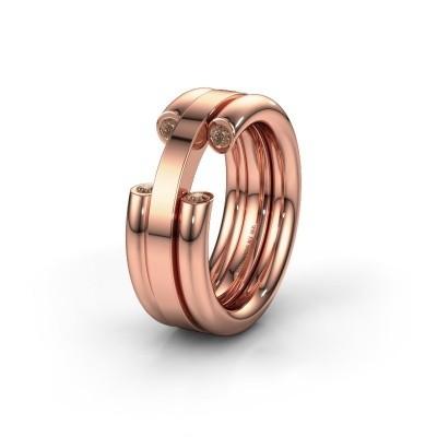 Trouwring WH6018L 585 rosé goud bruine diamant ±8x3 mm