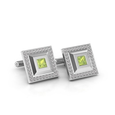 Picture of Cufflinks Joris 925 silver peridot 4 mm