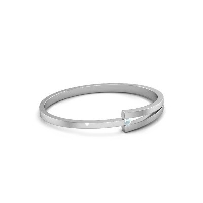 Picture of Bangle Sofia 950 platinum aquamarine 4 mm