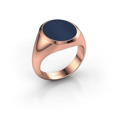 Zegelring Herman 5 375 rosé goud donker blauw lagensteen 15x13 mm