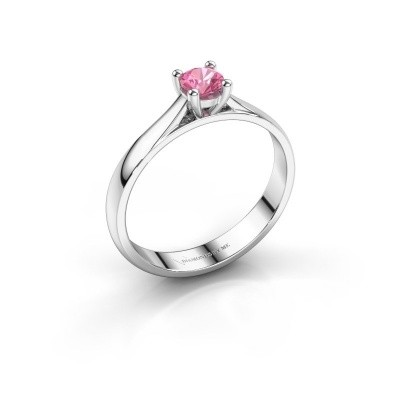 Foto van Verlovingsring Sam 585 witgoud roze saffier 4.2 mm