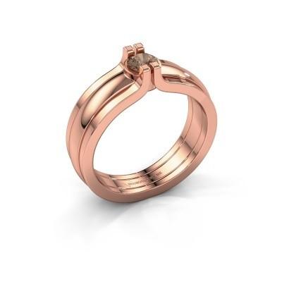 Foto van Ring Jade 585 rosé goud bruine diamant 0.25 crt