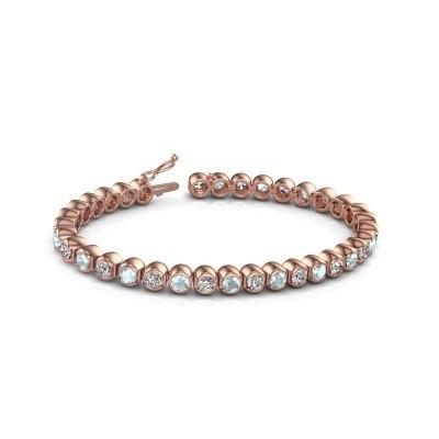 Tennis bracelet Bianca 375 rose gold aquamarine 4 mm
