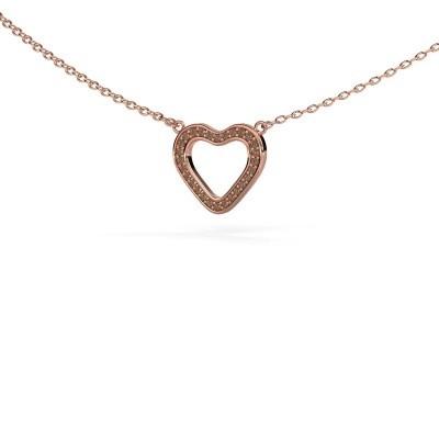 Foto van Hanger Heart 3 375 rosé goud bruine diamant 0.07 crt