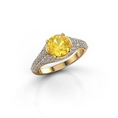 Verlovingsring Lovella 375 goud gele saffier 7 mm