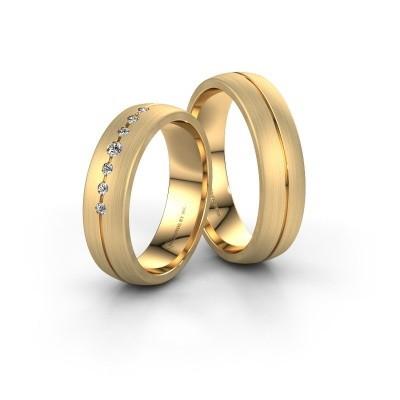 Foto van Huwelijksringen set WH0162LM25AM ±5x1.7 mm 14 karaat goud diamant 0.03 crt